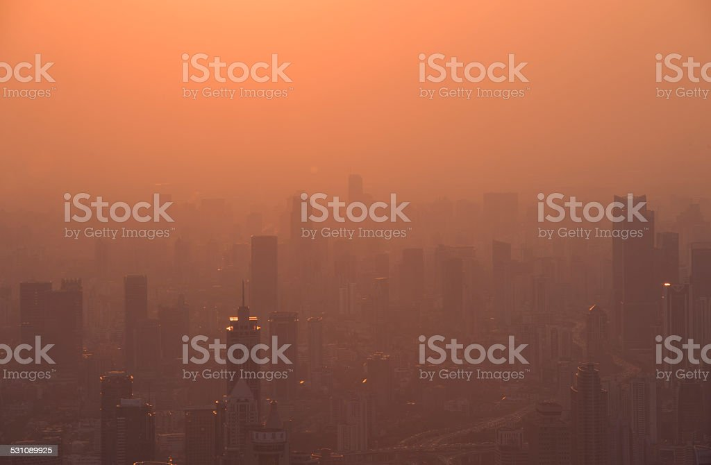 shanghai in  fog - a view from the top stock photo