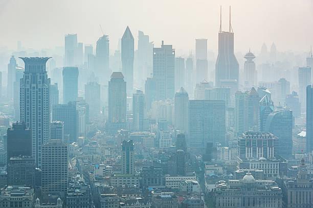 Shanghai in the Mist Fog Skyline China stock photo