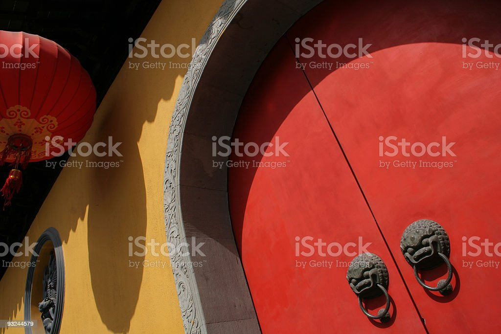 Shanghai Jade Buddha Temple doors royalty-free stock photo