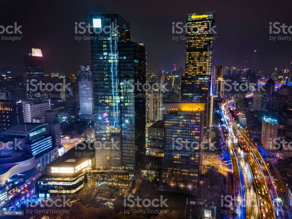 Shanghai Jing'An District at night stock photo