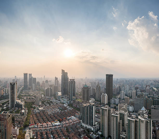 Shanghai JingAn district skyline in sunshine – Foto