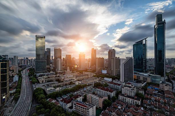 JingAn district skyline von Shanghai – Foto