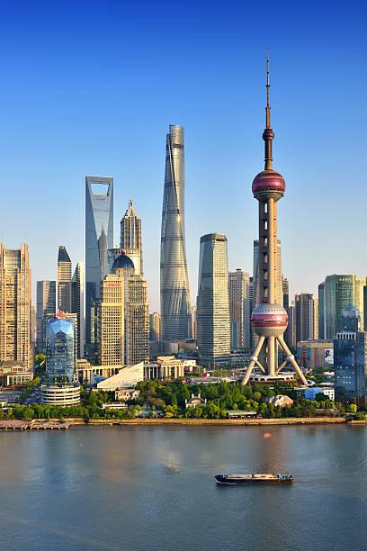 Shanghai Landmark Building Shanghai landmark building in sunny blue sky. oriental pearl tower shanghai stock pictures, royalty-free photos & images