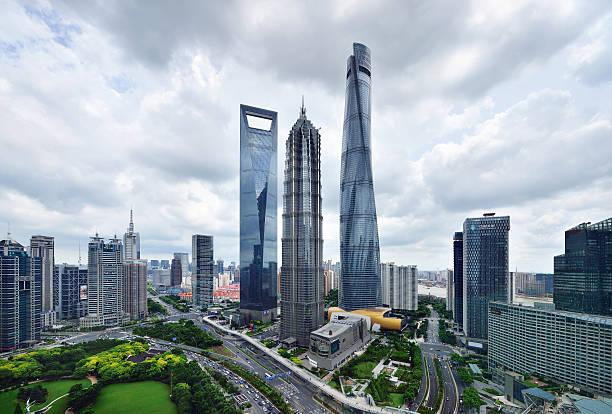 Shanghai Landmark Skyscraper Shanghai landmark skyscraper in lujiazui financial district, China. jin mao tower stock pictures, royalty-free photos & images