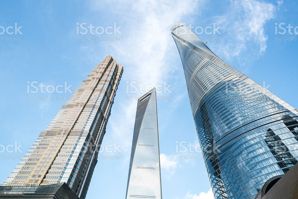 shanghai landmark skyscrapers stock photo