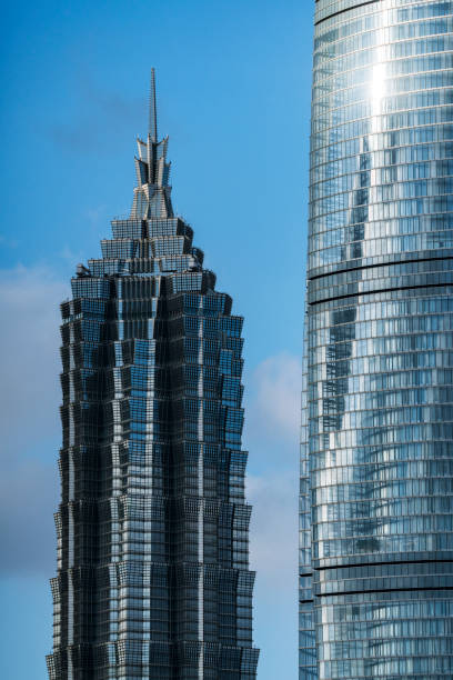 Shanghai Landmarks Jinmao tower and Shanghai tower in lujiazui financial district,shanghai,china. jin mao tower stock pictures, royalty-free photos & images