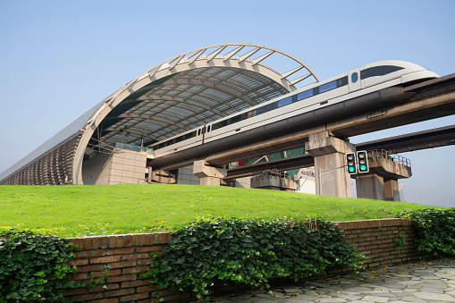 Shanghai light rail train,maglev train,China - East Asia,
