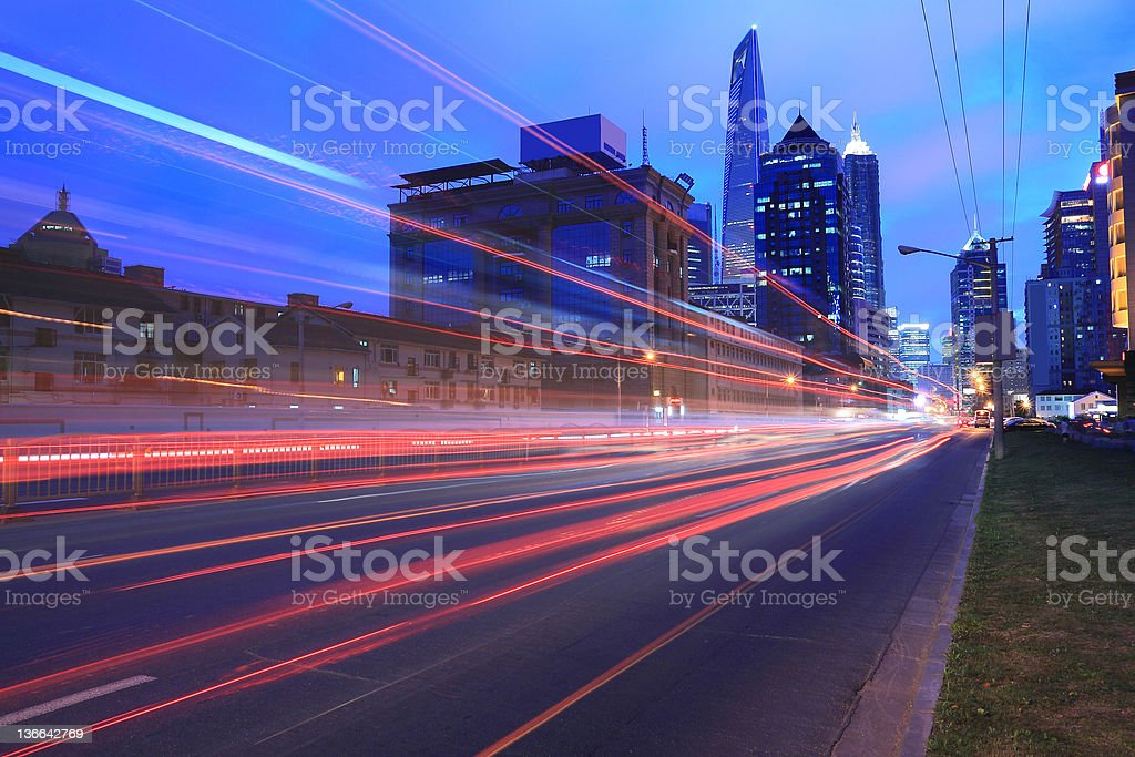 Shanghai Lujiazui city night light royalty-free stock photo