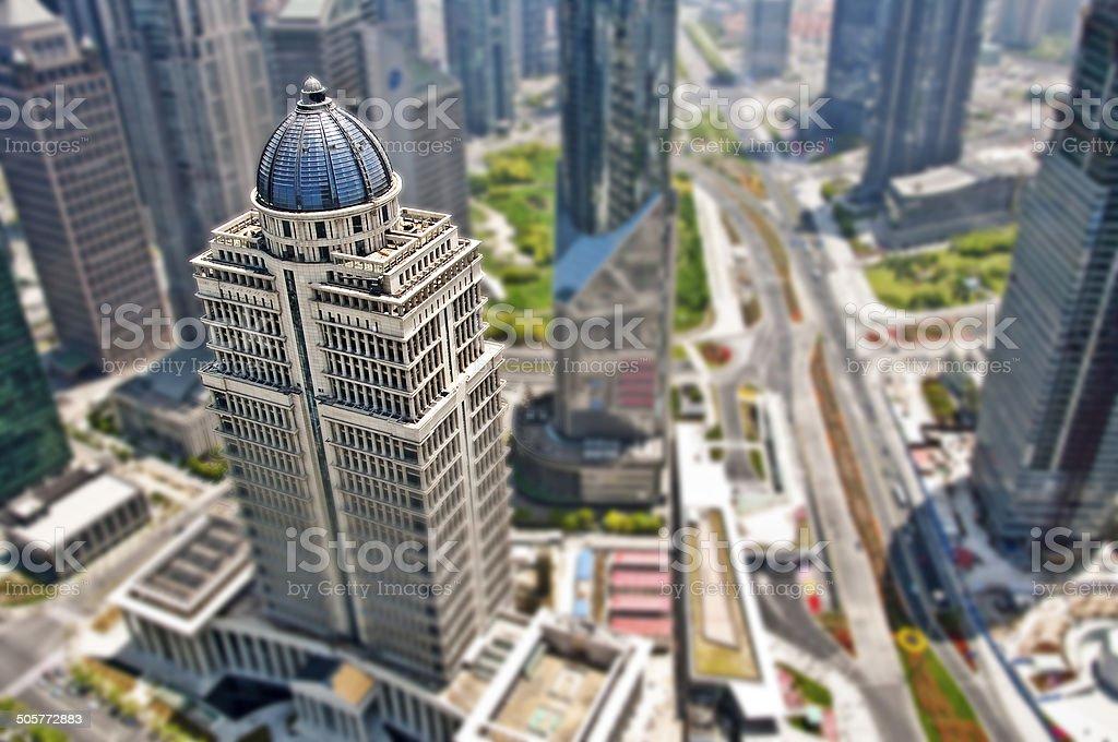 Shanghai Lujiazui district business, tilt shift photograph stock photo