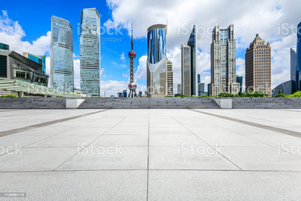 Shanghai Lujiazui financial district city scenery and square ground stock photo