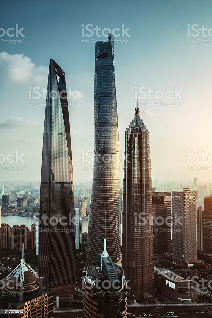 Shanghai Lujiazui global financial district at sunset stock photo
