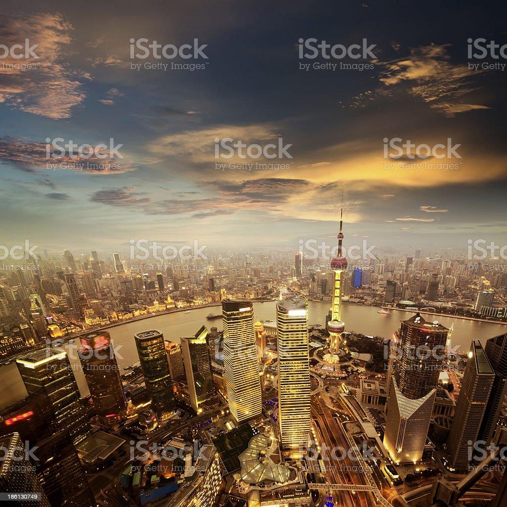 shanghai lujiazui - Royalty-free Aerial View Stock Photo