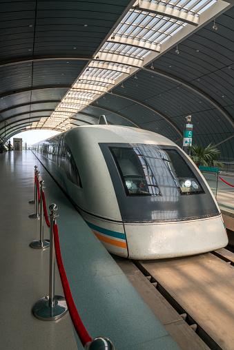 Shanghai Maglev Train in station, China