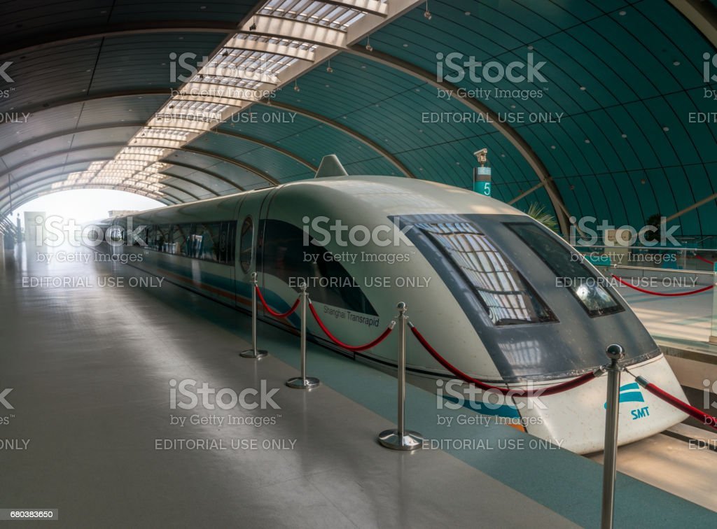 Shanghai Maglev Train in station stock photo