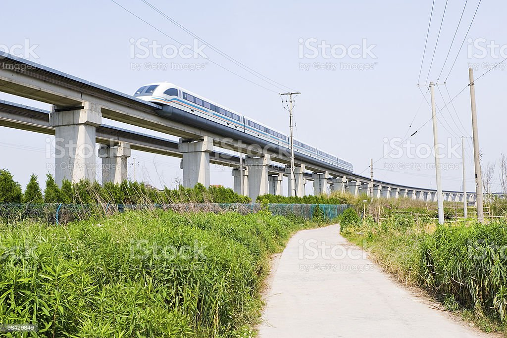 상하이: 자기부상열차 여행 최고 속도로 royalty-free 스톡 사진