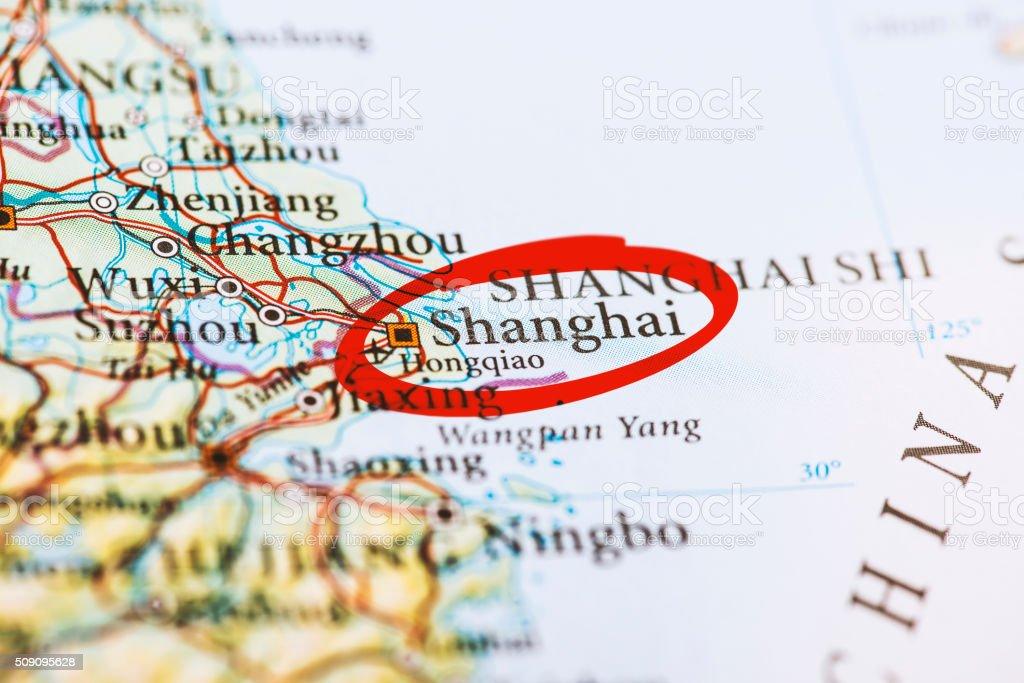Shanghai Contrassegnati Sulla Mappa Con Marcatore Rosso ...
