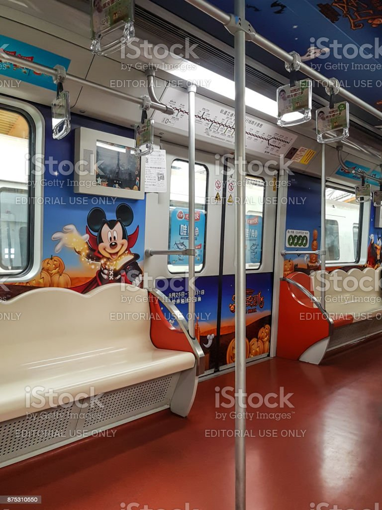 Shanghai Metro - Disney characters on carriage stock photo