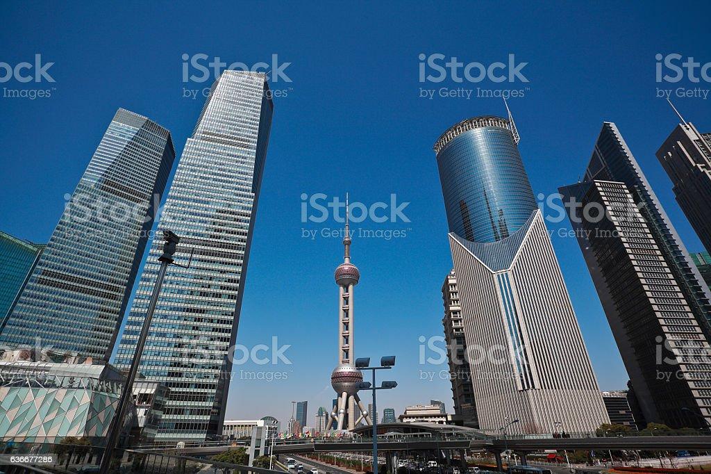 Shanghai modern city landmark office backgrounds stock photo