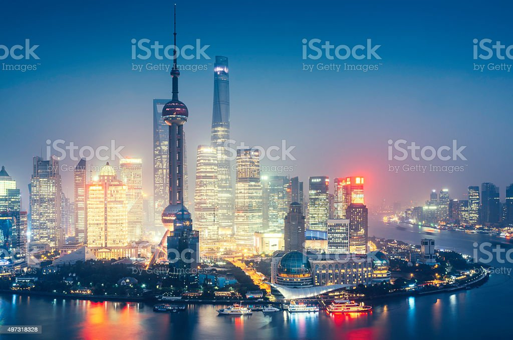 Shanghai Modern Skyline at dusk stock photo