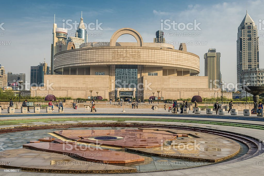 shanghai museum on people square china stock photo