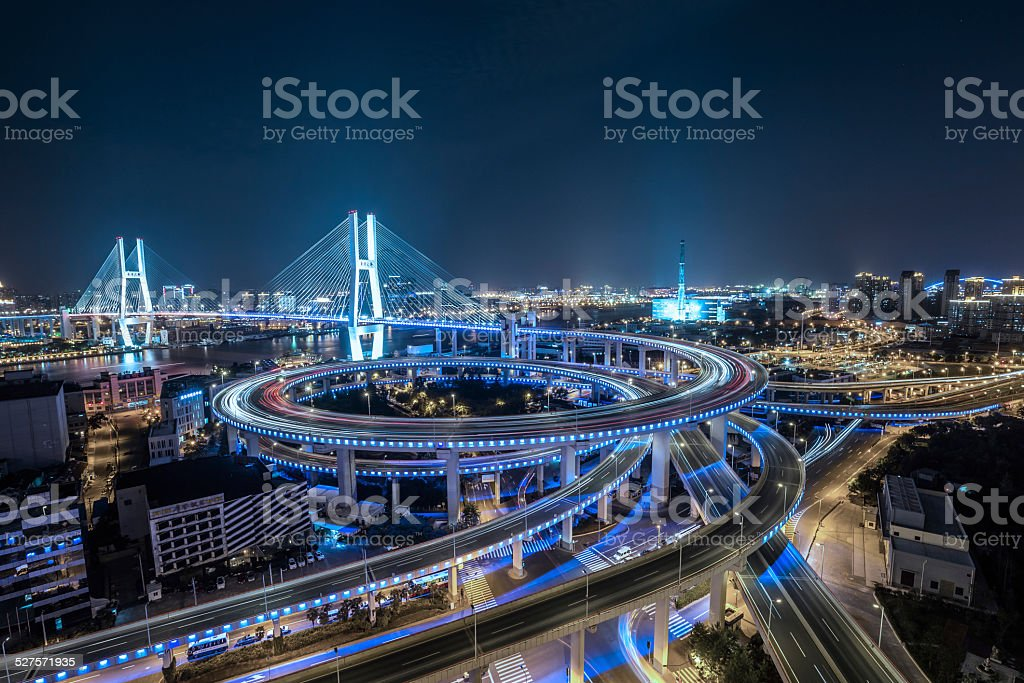 shanghai nanpu-Brücke bei Nacht – Foto