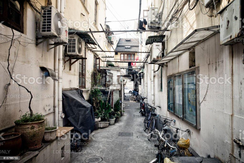 Shanghai narrow lane stock photo
