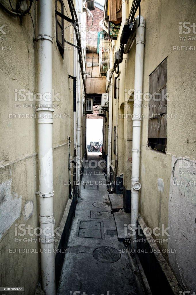 Shanghai narrow street stock photo