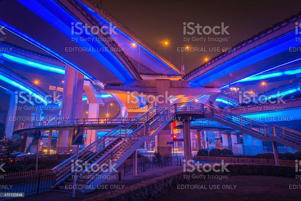 Shanghai neon night highway futuristic illuminated walkways China royalty-free stock photo