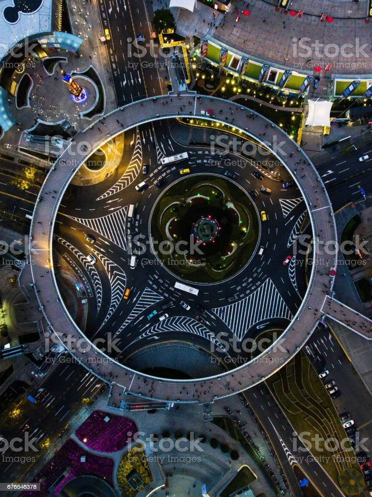 Shanghai night aerial view stock photo