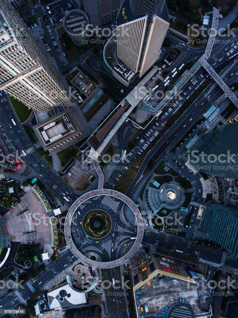 Vue aérienne de Shanghai de nuit photo libre de droits