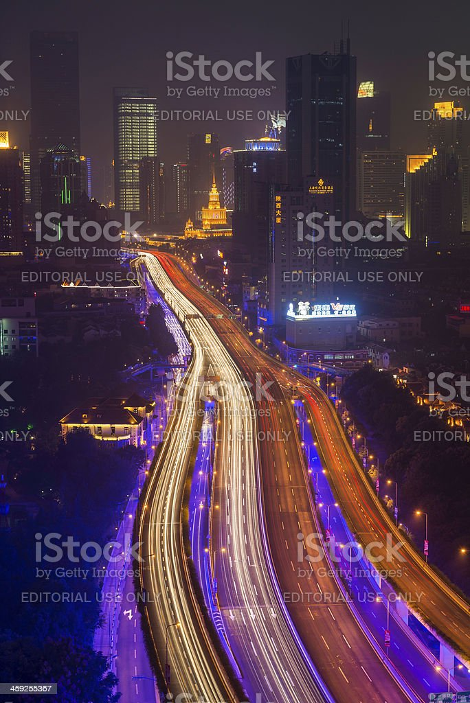 Shanghai night neon highway traffic China royalty-free stock photo