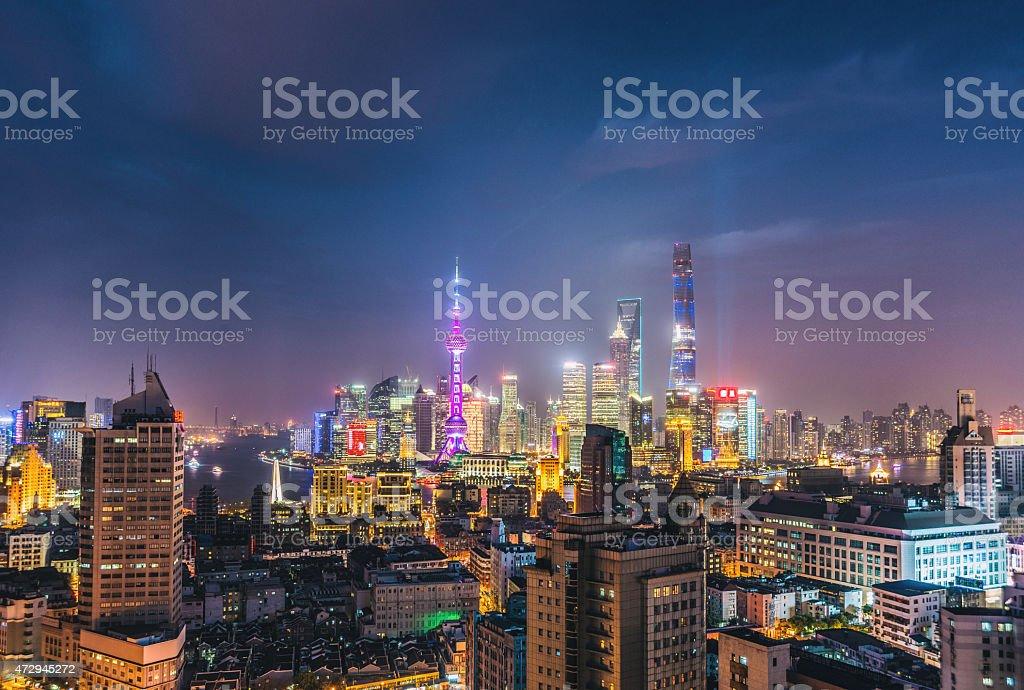 Shanghai Night Skyline stock photo