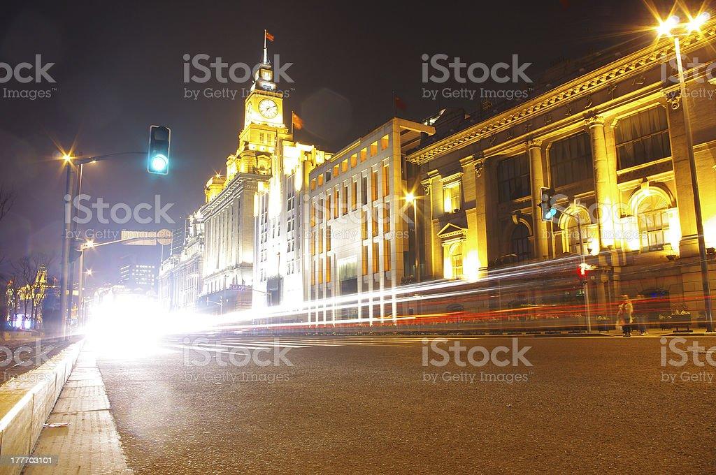 Shanghai night traffic royalty-free stock photo
