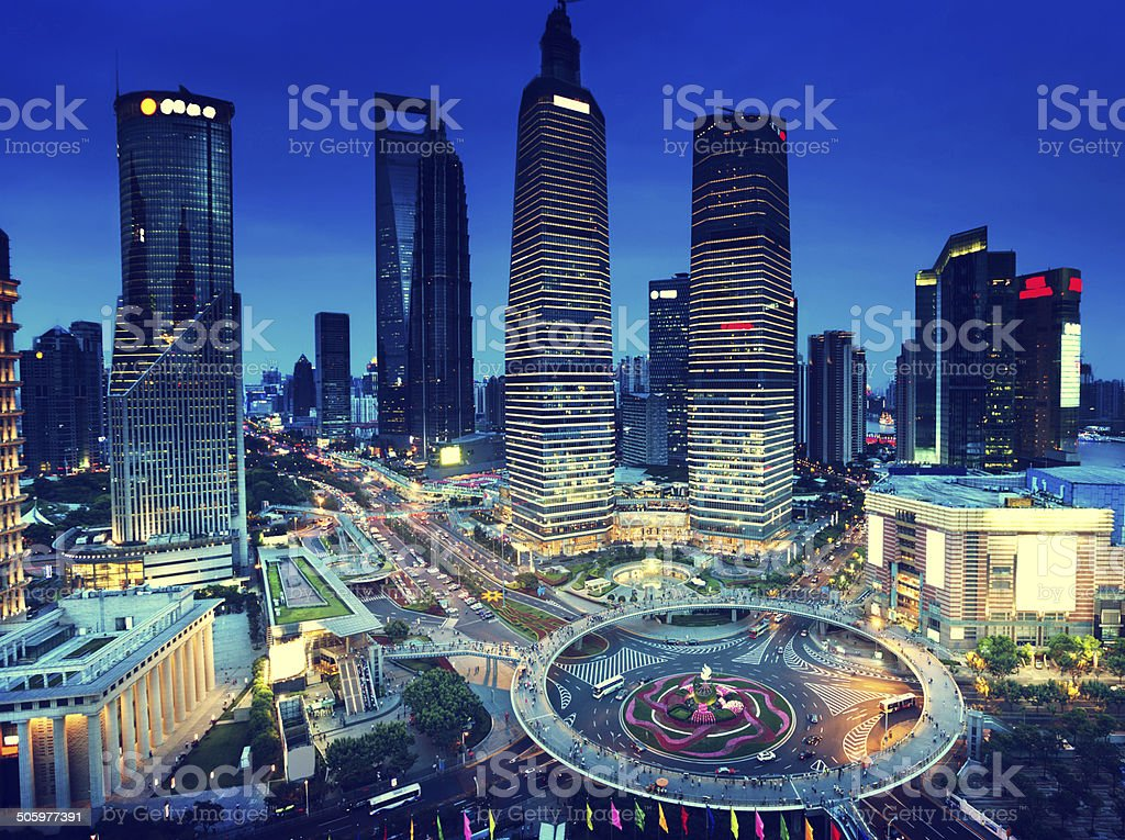 shanghai night view from the oriental pearl tower stock photo