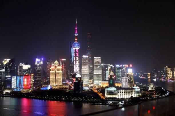 Vistas nocturnas de Shanghái - foto de stock