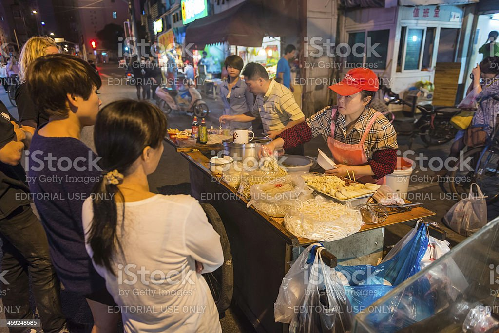 Shanghai noodle stall street food at night China stock photo