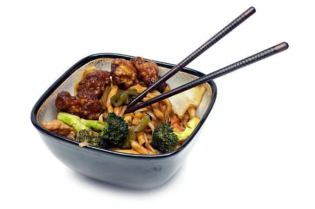 Shanghai Noodles & General Tao Chicken stock photo