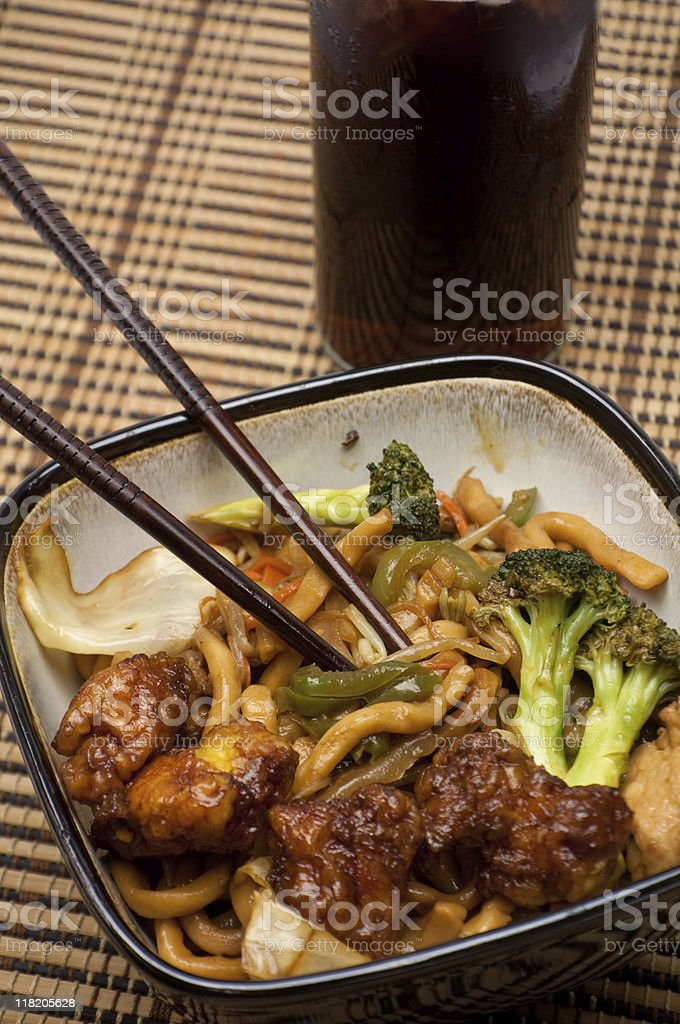 Shanghai Noodles & General Tao Chicken royalty-free stock photo