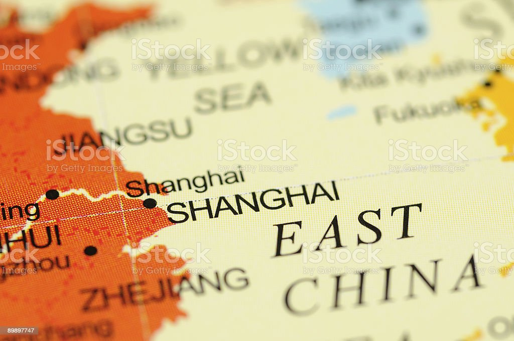 Shanghai on map royalty-free stock photo