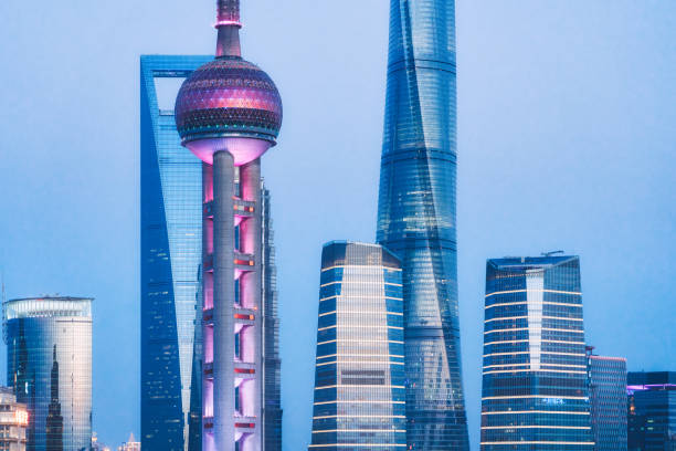 Shanghai, Oriental Pearl Tower and Pudong skyscrapers, China Shanghai, Oriental Pearl Tower and Pudong skyscrapers, China oriental pearl tower shanghai stock pictures, royalty-free photos & images
