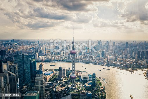 drone point aerial view of Shanghai oriental pearl tower