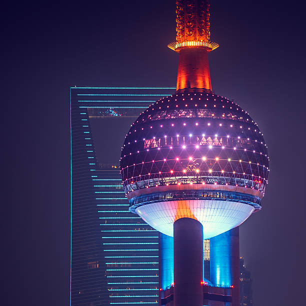 Shanghai Oriental Pearl Tower Oriental Pearl Tower and glass skyscraper oriental pearl tower shanghai stock pictures, royalty-free photos & images