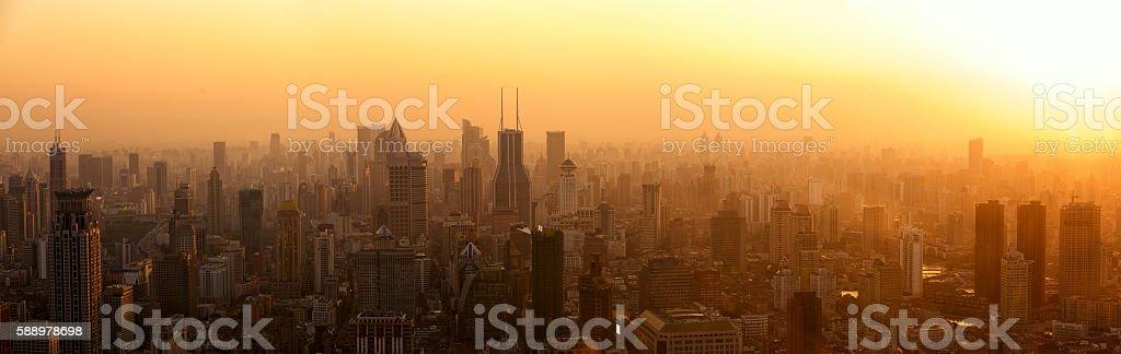 Shanghai panorama at sunset stock photo