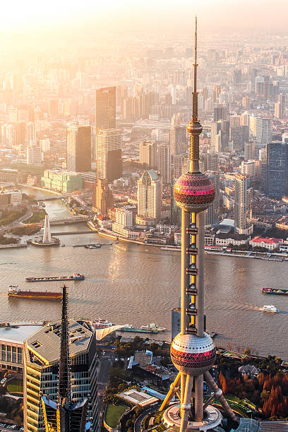 shanghai panorama shanghai pudong sunset huangpu river stock pictures, royalty-free photos & images