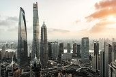 Sunset at Shanghai Lujiazui Financial City