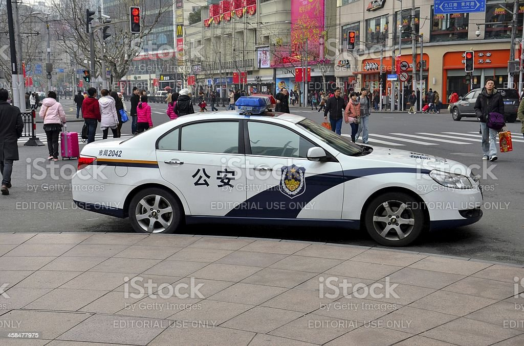 Shanghai police car parked at kerbside, China stock photo