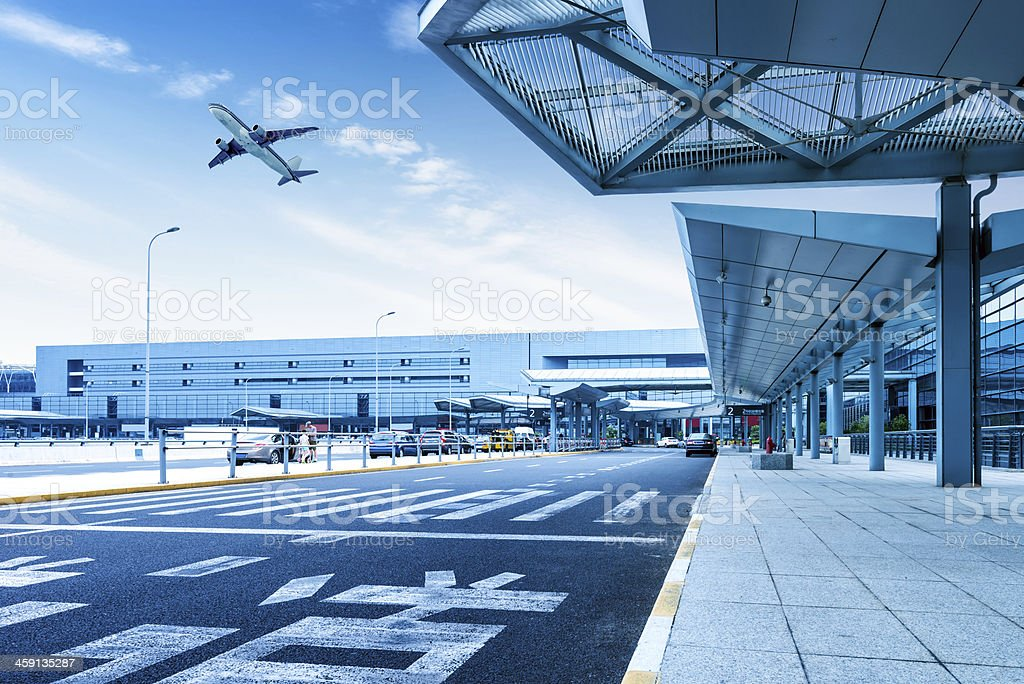 Shanghai Pudong Airport road stock photo