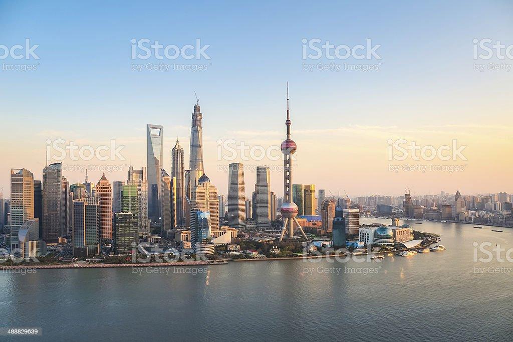shanghai pudong at dusk stock photo