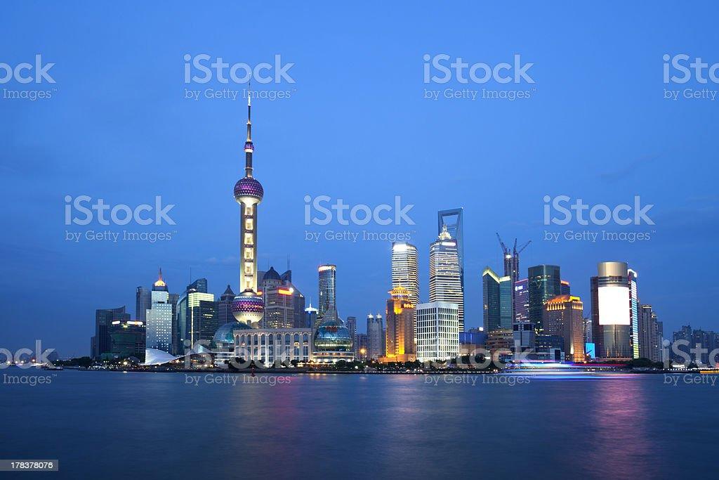 Shanghai pudong at night royalty-free stock photo