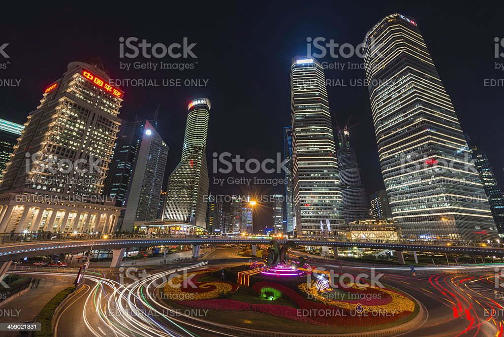 Shanghai Pudong financial district skyscrapers illuminated at night China royalty-free stock photo
